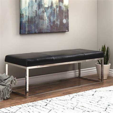 Stainless Steel and Leather Bench