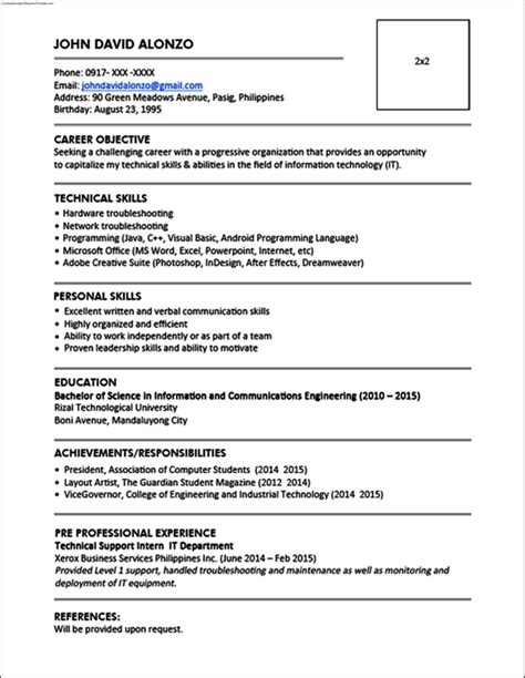 standard format of resume pdf 250 free resume templates collection in word pdf format - Standard Format Resume