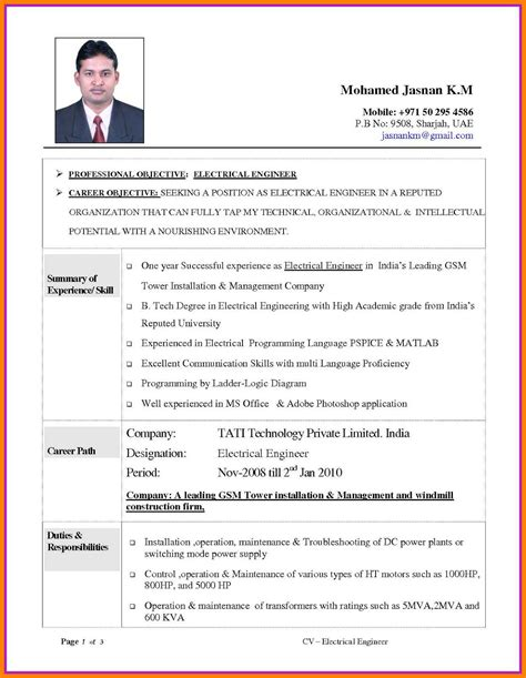 Standard Resume Format For Diploma Freshers Electrical Engineering Freshers Cv Samples And Formats