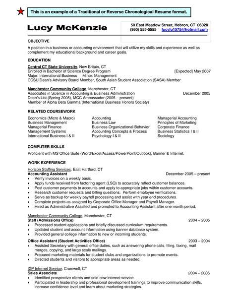 Standard Resume Format Examples Resume Format Reverse Chronological Functional Hybrid