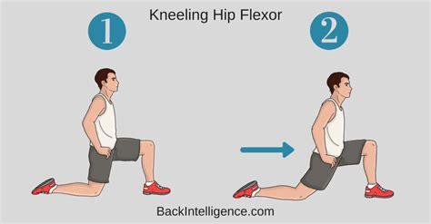 static kneeling hip flexor stretch with pelvic tilt stretches