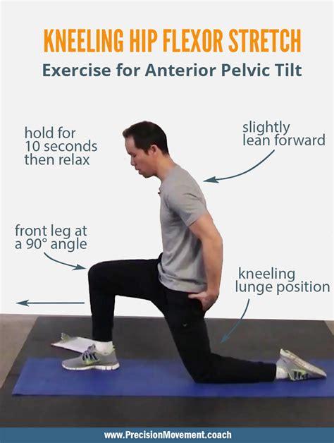 static kneeling hip flexor stretch with pelvic tilts c-section