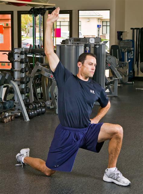 static kneeling hip flexor stretch with rotational symmetry