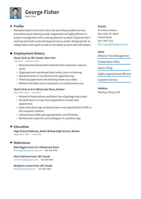stock clerk resume no experience how to make a one job resume