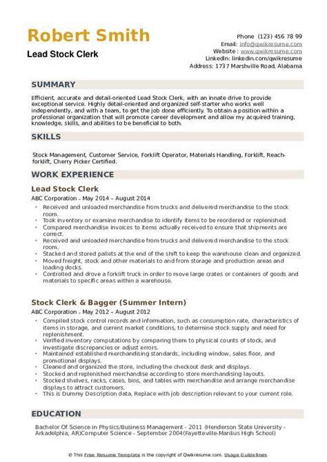 stock clerk resume objective store keeper resume latest resume sample