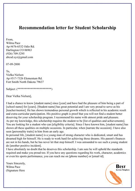 Student Letter Of Recommendation From Teacher For Scholarship Letter Of Recommendation For Student 35 Download Free
