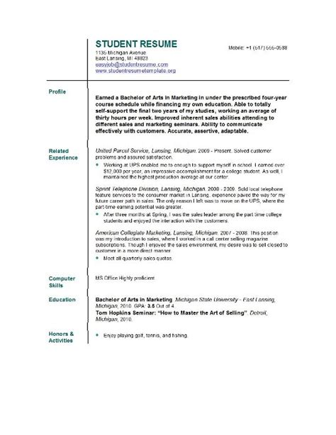 Student Resume Cover Letter Template Free Sample Resume Template Cover Letter And Resume