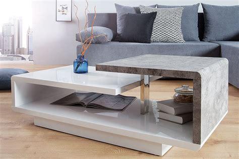 Stylischer Design Couchtisch Concept Hochglanz Weiß