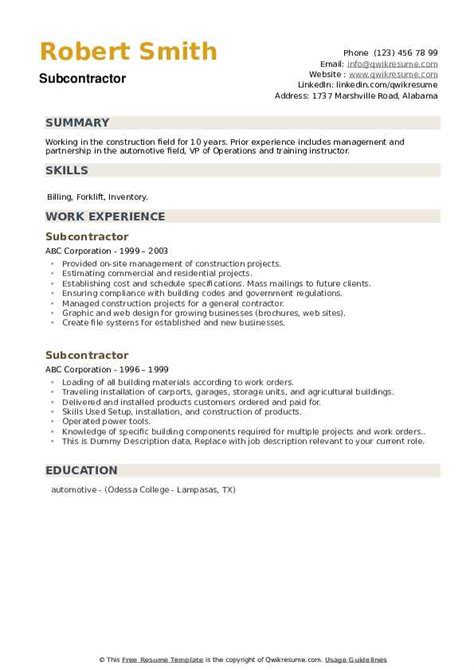 resume examples for general contractor sub contractor resume sample - General Contractor Resume