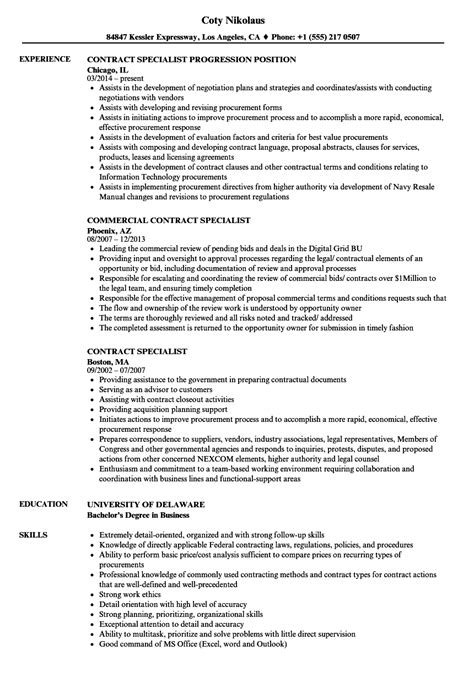 sample contract specialist resume resume templates gym