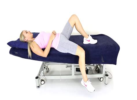 supine hip flexor stretch off table edge