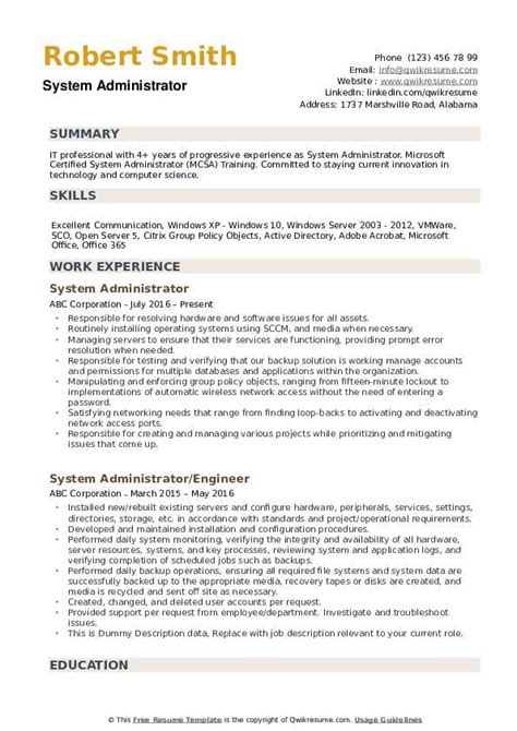 resume format for system administrator free download