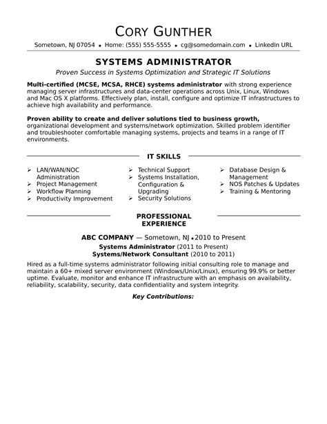 System Administrator Resume Hyderabad Sample Resume For Networking Administrator Templates