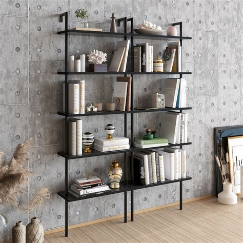 tall black ladder bookcase