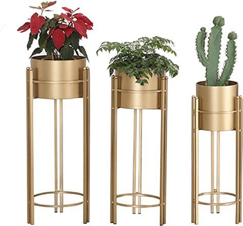 Tall 3-Piece Metal Pot Planter Set