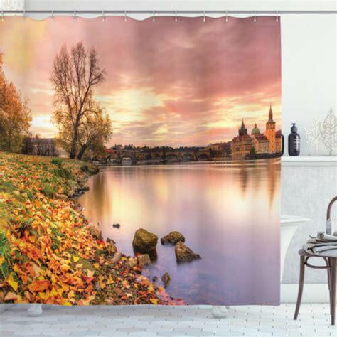 Tamekia Prague Riverside Autumn Shower Curtain Set