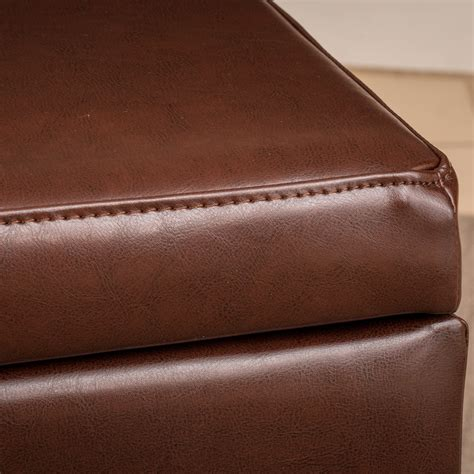 Tarrison Leather Storage Bench