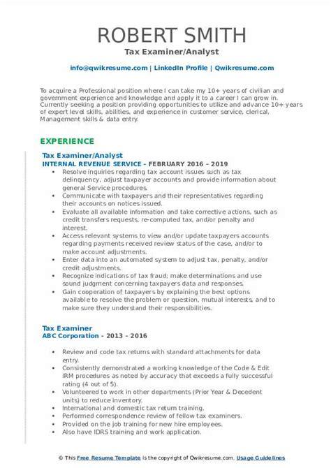 Resume For Tax Examiner Resume For Tax Examiner Tax Examiner Resume Samples Jobhero