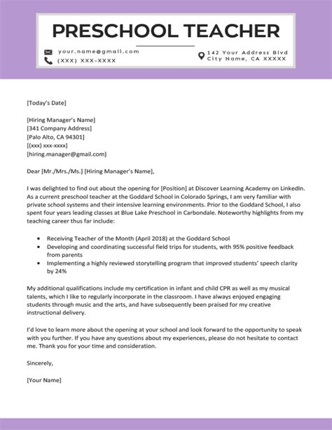 Teacher Cover Letter Kindergarten Kindergarten Teacher Cover Letter Free Sample Letters
