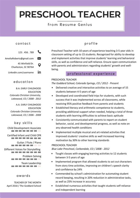 Resume Format Ba Student Resume Format Ba Student Teacher Kindergarten Free Sample Resume Resume Example