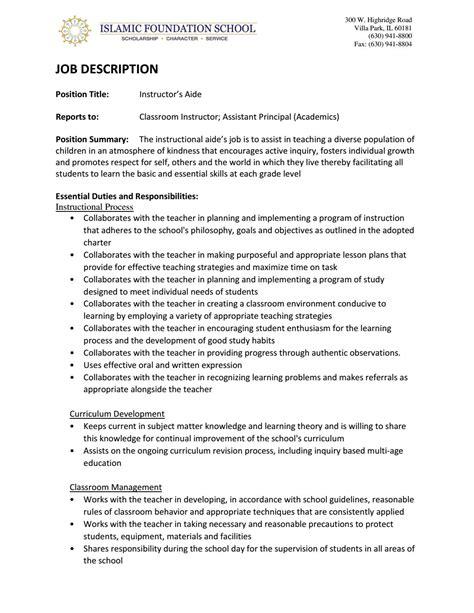 job description sample teacher teachers aide job description and salary information teacher aides job description teacher aides job description