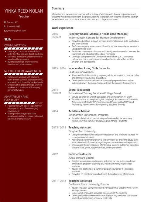 preschool teacher resume template this is a high school teacher ...