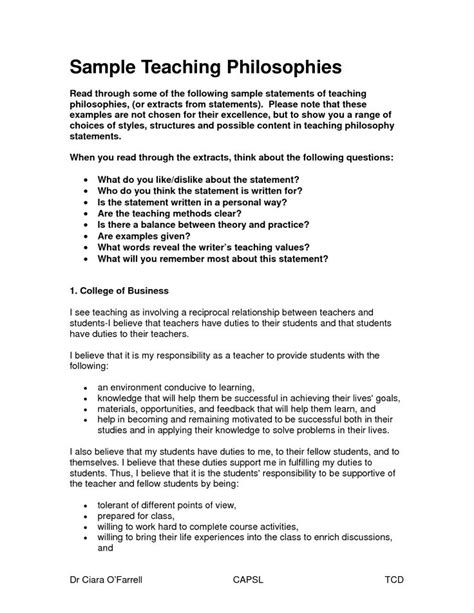 teaching philosophy examples for elementary teachers ejemplo de