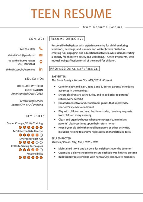 teenage resume objective examples how to write a resume the art of manliness