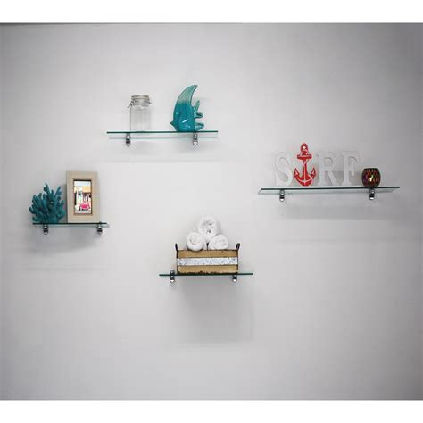 Tempered Glass Floating Rectangle Shelf