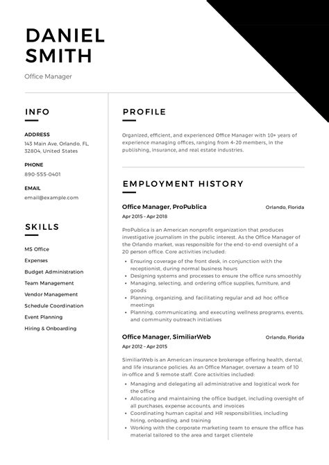 Template Of Resume In English Cv Resume Office Templates