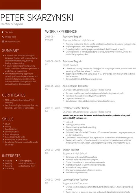 Template Of Resume In English Resume Samples English Club