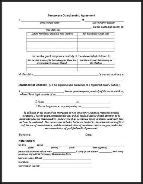 sample of guardianship form temporary guardianship form for parents grandparents