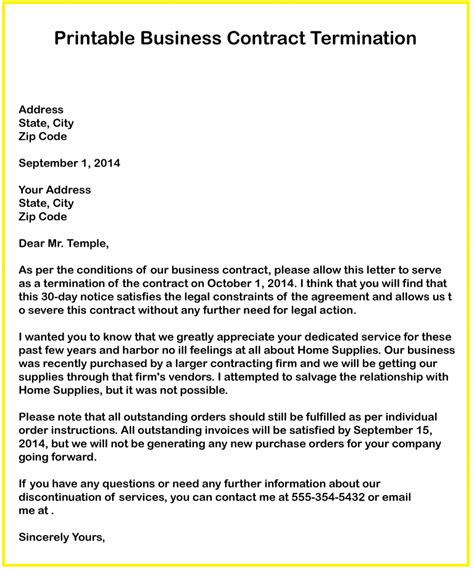 Termination Of Contract Letter Format Business Contract Termination Letter Livecareer