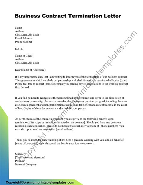 Termination Of Contract Letter Format Contract Termination Sample Letter Notice Of