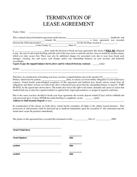 blank lease agreement breaking termination of lease form breaking lease agreements