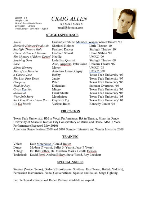 theatre resume special skills examples best resume examples for your job search livecareer - Theater Resume Example
