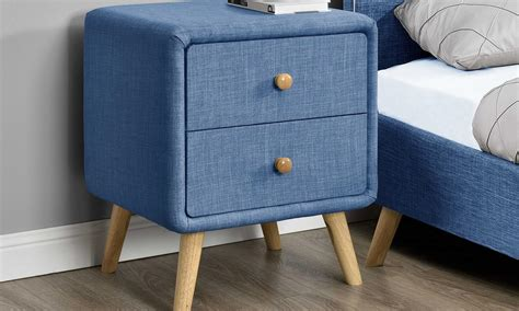 Tito Mid-Century Upholstered 2 Drawer Nightstand