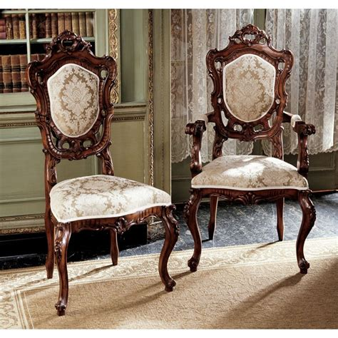 Toulon French Rococo Upholstered 6 Piece Dining Chair Set (Set of 6)