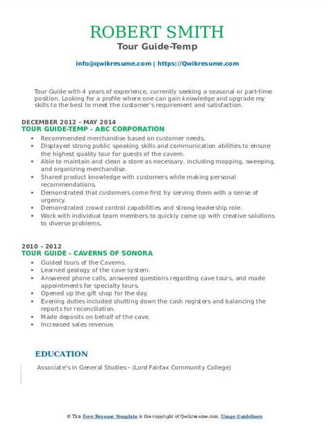 tour guide resume sample resume samples office work