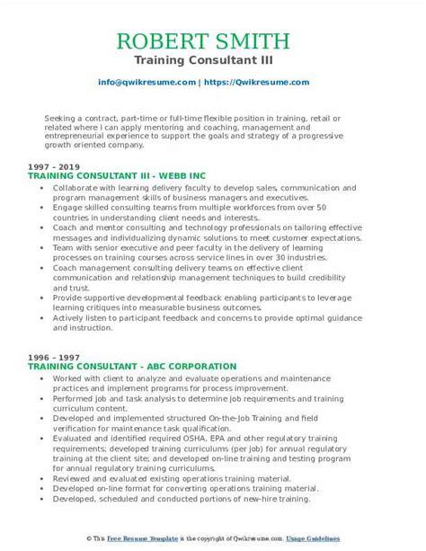 Training Consultant Resume Examples Resume Examples