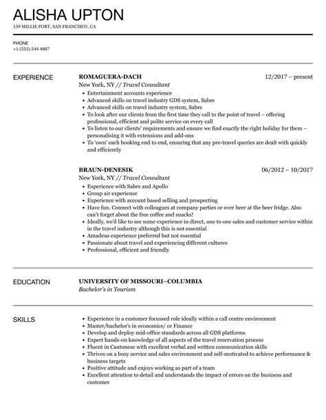 travel consultant resume format resume building presentation