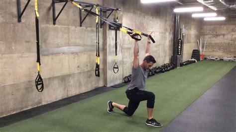 trx half kneeling hip flexor stretch with pelvic tilt stretch