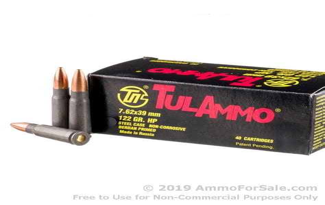 Ammunition Tula 7.62x39mm 122gr Hp Steel Cased Ammunition