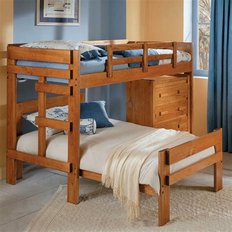Twin over Twin L-Shaped Bunk Bed with 4 Drawer Chest by Chelsea Home