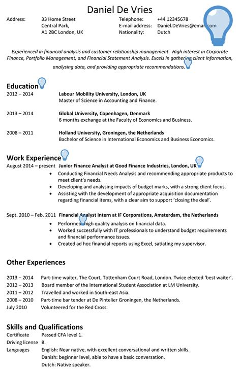 uk resume format example a good resume objective example