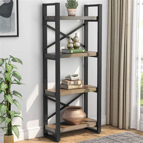 Unfinished Wood 4 Tier Etagere Bookcase
