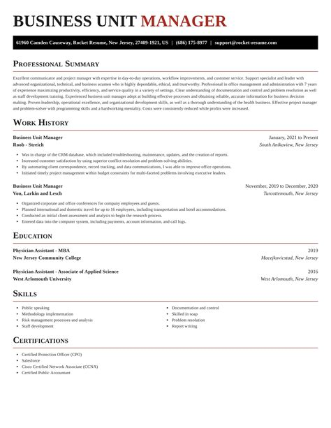 Beautiful Business Unit Manager Resume Contemporary - Best Resume ...