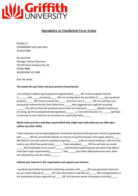Best Unsolicited Cover Letter Examples Free Resume Template