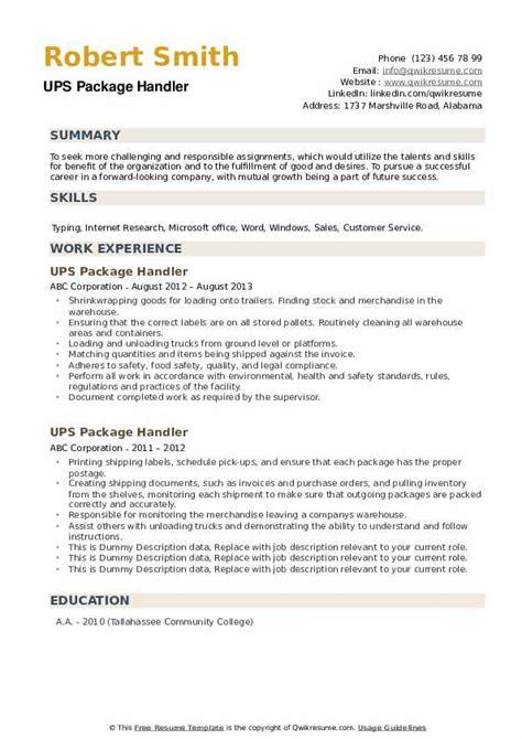ups package handler job description for resume package handler resume samples jobhero
