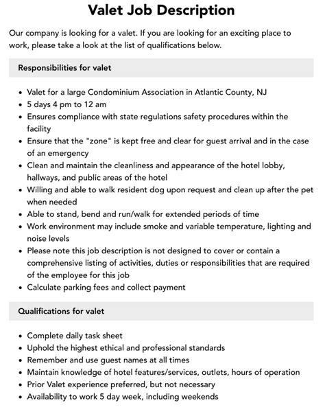 Valet Job Description For Resume Valet Job Description Bestjobdescriptions